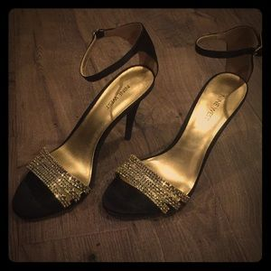 Holiday gold sparkles and black heels